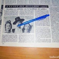 Collectionnisme de Magazine Destino: RECORTE PRENSA : VICENTE ESCUDERO SE ENFRENTA A LA HOSTILIDAD DEL PUBLICO. DESTINO, FEBRERO 1960. Lote 148290598