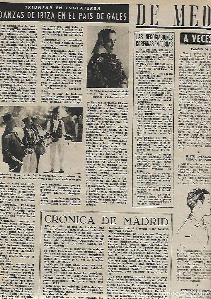 Coleccionismo de Revista Destino: AÑO 1952 DANZAS IBIZA EN GALES HOTEL ARYCASA BARCELONA PARTIDO COMUNISTA FRANCES HOLIDAY ON ICE - Foto 2 - 150300718