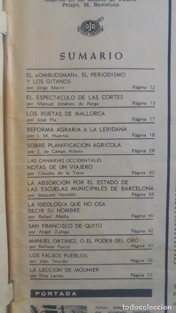 Coleccionismo de Revista Destino: DESTINO. FELLINI EN PORTADA, XUETAS MALLORCA, SAN FRANCISCO DE QUITO, MANUEL ORTINEZ - Foto 2 - 154781946