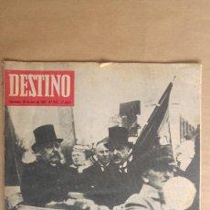 Coleccionismo de Revista Destino: DESTINO. HINDEMBURG CON ADENAUER, JOAN TEIXIDOR, MALLORCA, SAN JORGE SHAKESPEARE BYRON. Lote 155268754