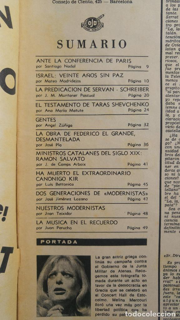 Coleccionismo de Revista Destino: DESTINO. TARAS SCHEVCHENKO MELINA MERCOURI, MINISTROS CATALANES, CANONIGO KIR, FEDERICO EL GRANDE - Foto 2 - 155270562