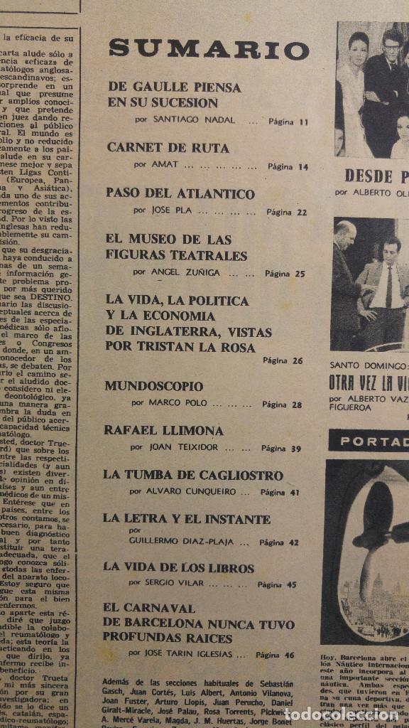 Coleccionismo de Revista Destino: DESTINO. BARCOS EN MONTJUICH, DE GAULLE, RAFAEL LLIMONA, CAGLIOSTRO, CARNAVAL BARCELONA - Foto 2 - 155286730