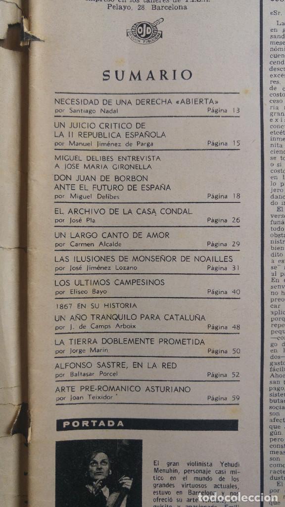 Coleccionismo de Revista Destino: DESTINO. YEHUDI MENUHIN, JOSE Mª GINODELLA POR MIGUEL DELIVES, ALFONSO SASTRE, ARTE PRE RO ASTURIANO - Foto 2 - 155287518