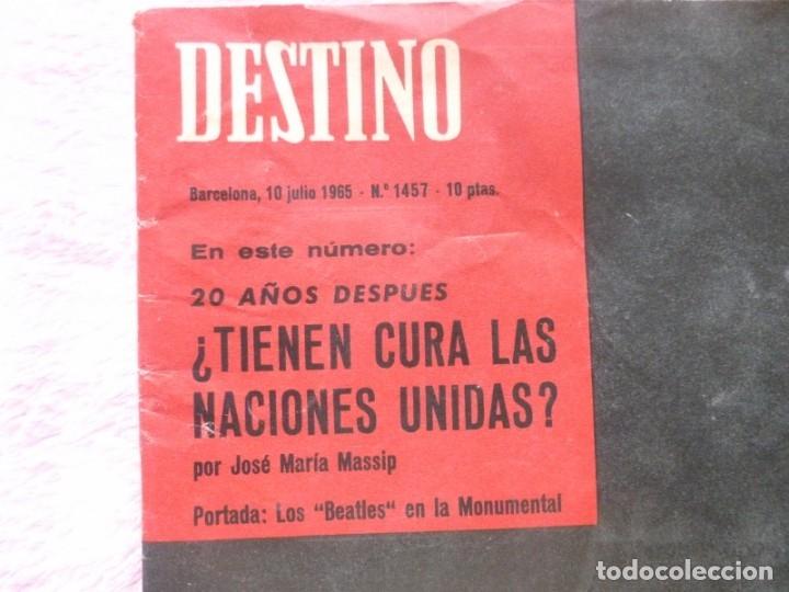 Coleccionismo de Revista Destino: The Beatles BARCELONA Revista Destino Julio de 1965 Excelente - Foto 2 - 178802041