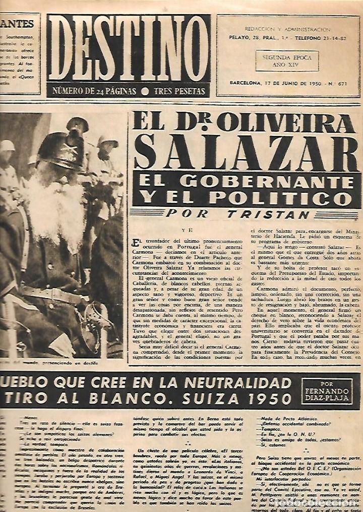 Coleccionismo de Revista Destino: AÑO 1950 OLIVEIRA SALAZAR ESCUELA DE COMERCIO MERCAT BORN PINTURA MIR VILANOVA GELTRU RAMON CALSINA - Foto 3 - 10873130
