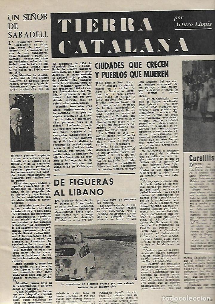 Coleccionismo de Revista Destino: 1961 ITALIA FIGUERAS A LIBANO EN 600 ARGENTONA TAHULL ROMANICO SABADELL JUAN MONTLLOR PUJALT DUWARD - Foto 5 - 10896677