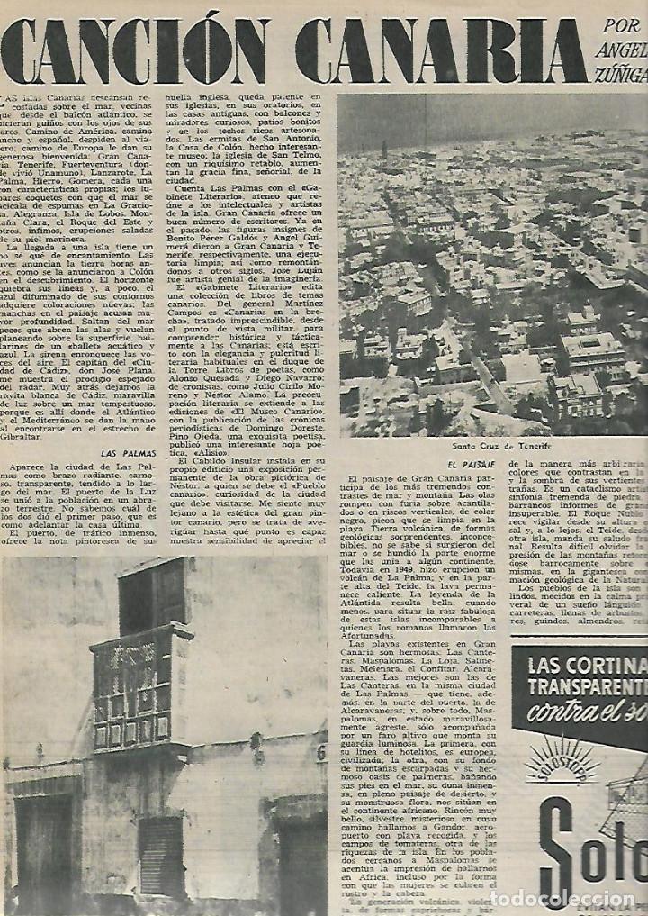 Coleccionismo de Revista Destino: AÑO 1955 ANTONIO GAUDI ESCULTOR VIRGEN DEL PUERTO EXTREMADURA TARREGA BALAGUER CANARIAS TAPIES - Foto 5 - 11609198