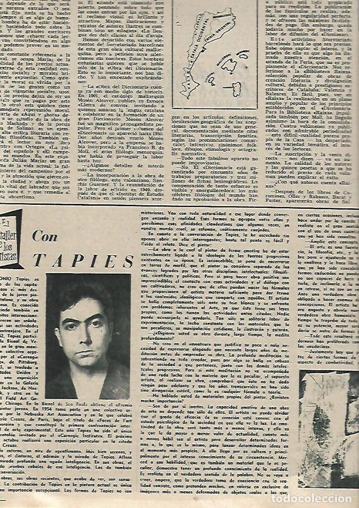 Coleccionismo de Revista Destino: AÑO 1955 ANTONIO GAUDI ESCULTOR VIRGEN DEL PUERTO EXTREMADURA TARREGA BALAGUER CANARIAS TAPIES - Foto 6 - 11609198