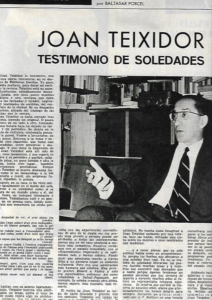Coleccionismo de Revista Destino: AÑO 1967 CALELLA FRESAS LA GOMERA ARRABAL FLOTATS TEATRO JOAN TEIXIDOR LA SARDANA Y LA COBLA BEATLES - Foto 7 - 11684209