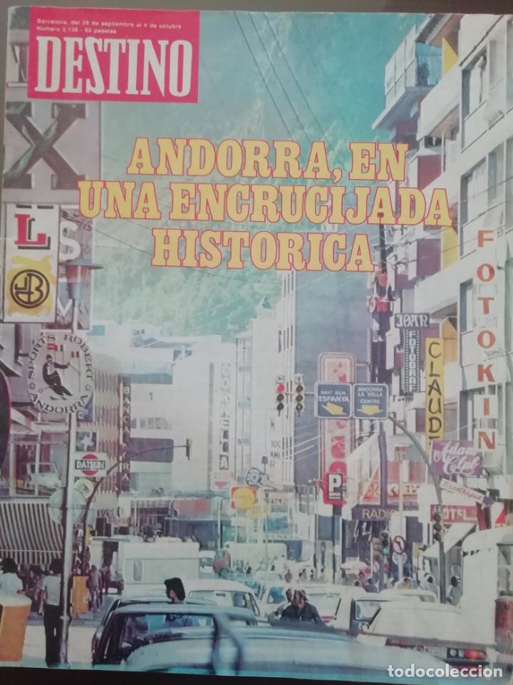 DESTINO Nº 2138 1978 ANDORRA EN UNA ENCRUCIJADA HISTORICA - LA FELIZ MENORCA (Coleccionismo - Revistas y Periódicos Modernos (a partir de 1.940) - Revista Destino)