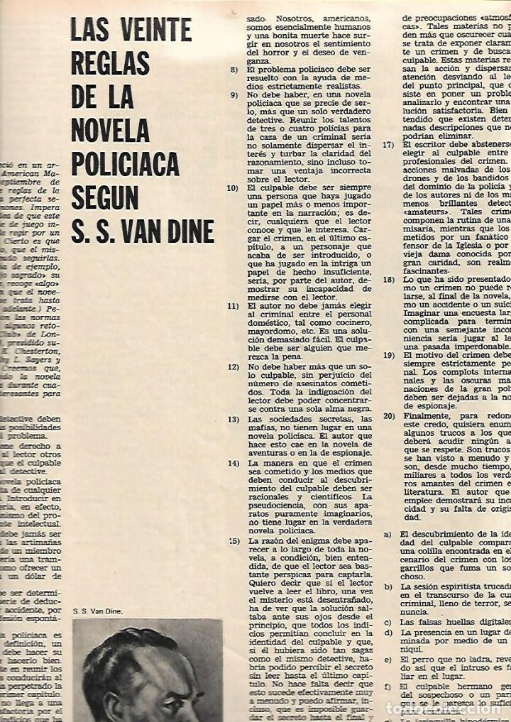 Coleccionismo de Revista Destino: AÑO 1971 ESPECIAL LA NOVELA POLICIACA AGHATA CHRISTIE REGLAS VAN DINE SHERLOCK HOLMES DETECTIVE CINE - Foto 2 - 11760491