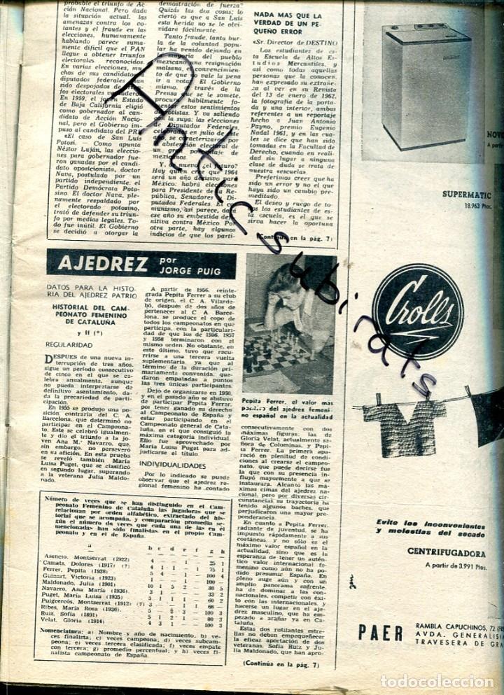 Coleccionismo de Revista Destino: REVISTA1962 ANDORRA PAS DE LA CASA ENVALIRA MUSEO DE RUBI E. CIRLOT NONELL AJEDREZ FEMENINO DEPORTE - Foto 3 - 192010780
