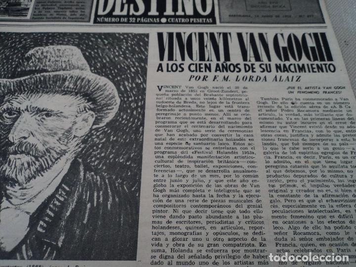 Coleccionismo de Revista Destino: REVISTA DESTINO Nº 827- 1953 VAN GOGH, ver fotos - Foto 3 - 192240968