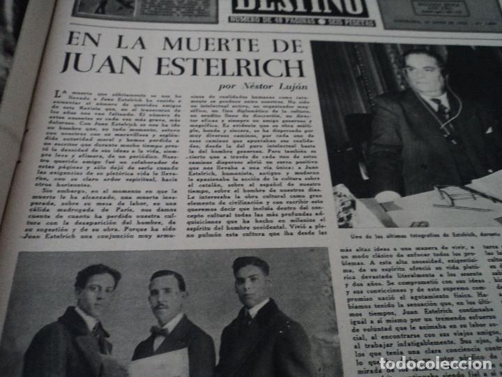 Coleccionismo de Revista Destino: REVISTA DESTINO JUAN ESTELRICH Nº 1090, AÑO 1958 ver fotos - Foto 3 - 192243400