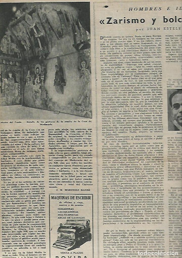 Coleccionismo de Revista Destino: AÑO 1949 APICULTURA ABEJAS MIEL COLMENA PINTURAS ROMANICAS MUSEO DEL PRADO ERMITA CRUZ DE MADERUELO - Foto 2 - 12027661