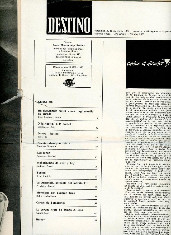 Coleccionismo de Revista Destino: DESTINO nº 1799 Barcelona, 25 de marzo de 1972 - Foto 2 - 195308236