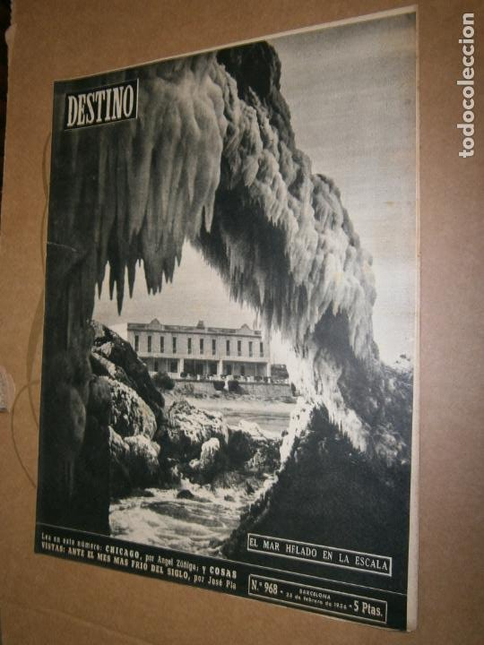 DESTINO Nº 968 AÑO 1956 EL MAR HELADO EN LA ESCALA (Coleccionismo - Revistas y Periódicos Modernos (a partir de 1.940) - Revista Destino)