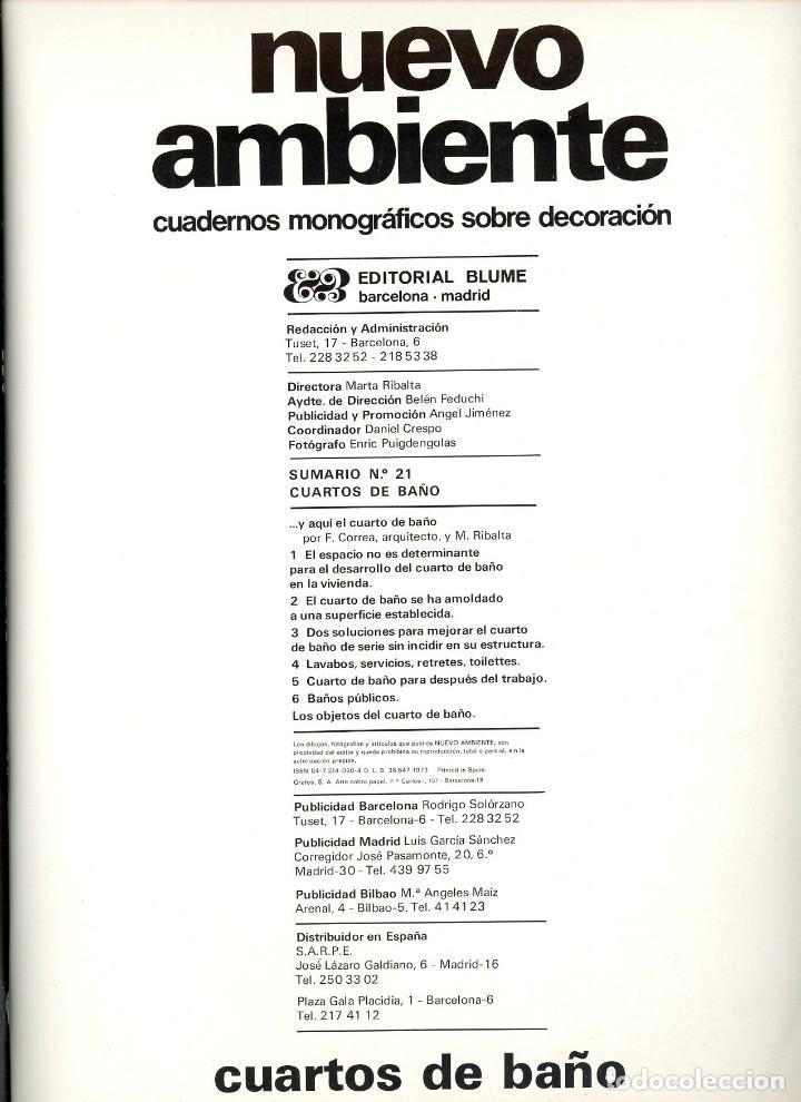 Coleccionismo de Revista Destino: Nuevo Ambiente, cuadernos monográficos de decoración. Nº 21 Cuartos de baño. 1973 - Foto 2 - 195309012