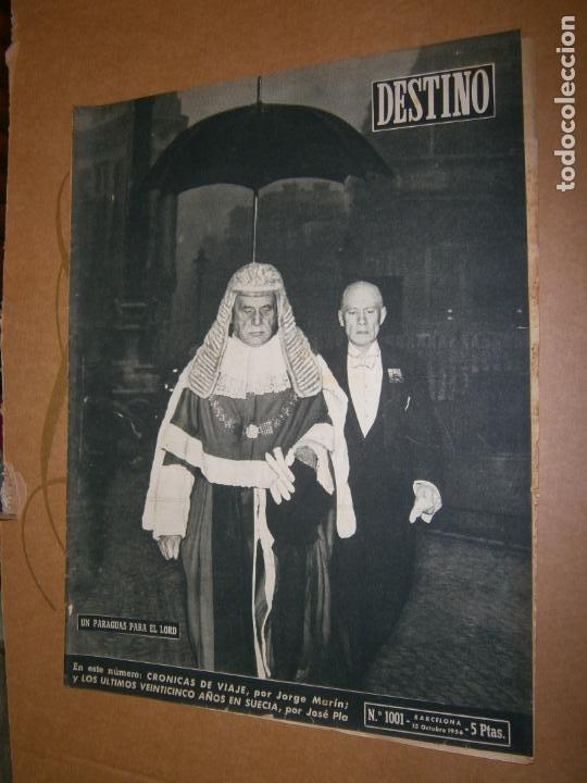 DESTINO Nº 1001 AÑO 1956 UN PARAGUAS PARA EL LORD (Coleccionismo - Revistas y Periódicos Modernos (a partir de 1.940) - Revista Destino)