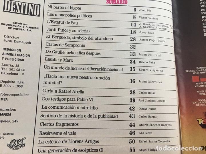Coleccionismo de Revista Destino: REVISTA DESTINO 2145 ,1978,ESTATUT SAU,PUJOL, BERGUEDA,MACIA,CONPANYS,. - Foto 2 - 200092981