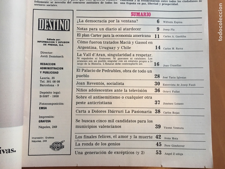Coleccionismo de Revista Destino: REVISTA DESTINO 2146 ,1978, VALL D'ARAN SINGULARIDAD A PERPETUAR, REVENTOS, MANRESA,PEDRALBES, MACIA - Foto 3 - 200093146