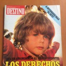 Colecionismo da Revista Destino: REVISTA DESTINO 2153, 1979, DERECHOS NIÑO, EL GUTI, BERGADA, FASCISMO ALEMÁN, COMPANYS, SA DRAGONERA. Lote 200099972