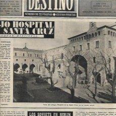 Coleccionismo de Revista Destino: 1954 HOSPITAL EN COLOM SANTA CREU CRUZ KUBALA HENO PRAVIA CINE YO CONFIESO HITCHKOCK BOIS BOULOGNE. Lote 296724108