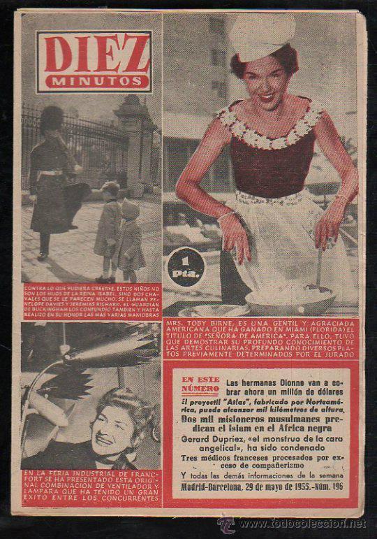 REVISTA DIEZ MINUTOS - Nº 196. MAYO 1955. (Coleccionismo - Revistas y Periódicos Modernos (a partir de 1.940) - Revista Diez Minutos)