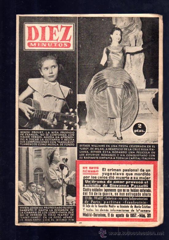 REVISTA DIEZ MINUTOS. AGOSTO 1957. NUM. 311. . (Coleccionismo - Revistas y Periódicos Modernos (a partir de 1.940) - Revista Diez Minutos)