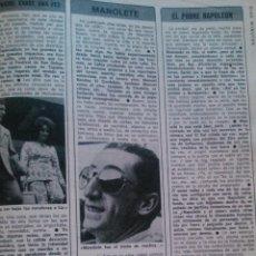 Coleccionismo de Revista Diez Minutos: RECORTES LIZ TAYLOR RICHARD BURTON MANOLETE. Lote 43107889