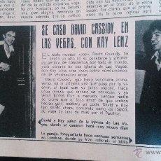 Coleccionismo de Revista Diez Minutos: RECORTES DAVID CASSIDY. Lote 43119774