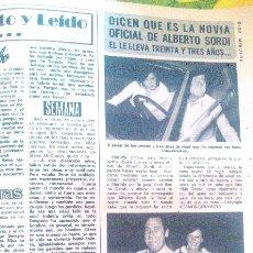 Coleccionismo de Revista Diez Minutos: RECORTES DE ALBERTO SORDI. Lote 43157241