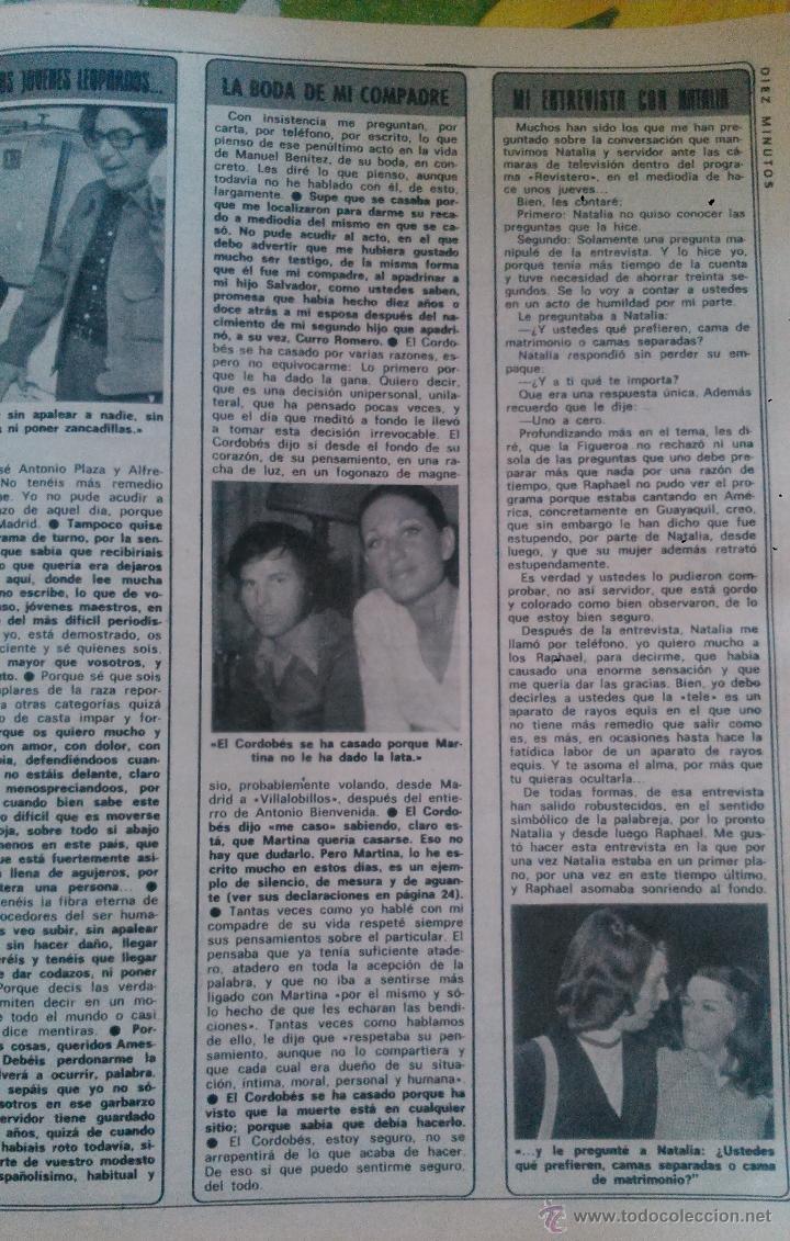 RECORTES DE RAPHAEL NATALIA FIGUEROA EL CORDOBES (Coleccionismo - Revistas y Periódicos Modernos (a partir de 1.940) - Revista Diez Minutos)