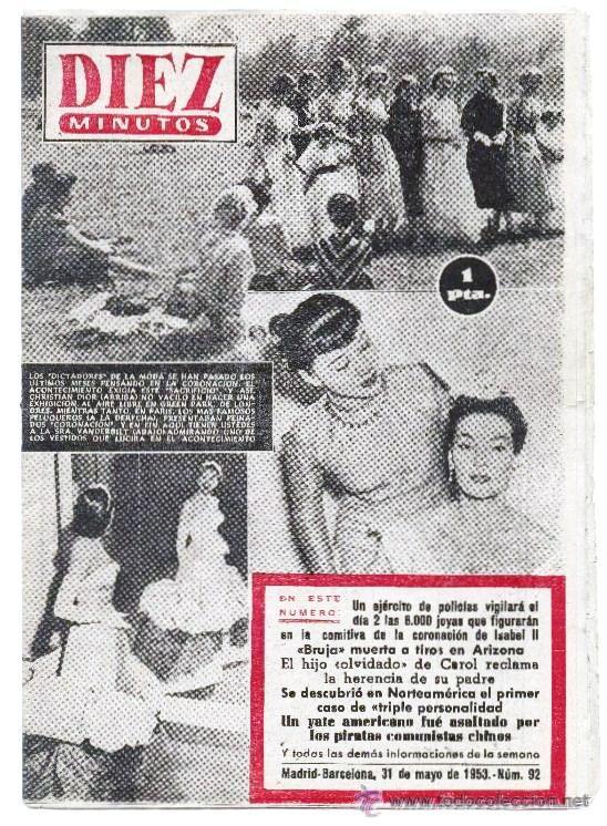 REVISTA DIEZ MINUTOS MADRID BARCELONA 31 DE MAYO DE 1953 Nº 92. (Coleccionismo - Revistas y Periódicos Modernos (a partir de 1.940) - Revista Diez Minutos)