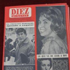 Coleccionismo de Revista Diez Minutos: REVISTA DIEZ MINUTOS Nº 598, FEBRERO 1963, CARLOS DE INGLATERRA APRENDE A ESQUIAR. Lote 56032663