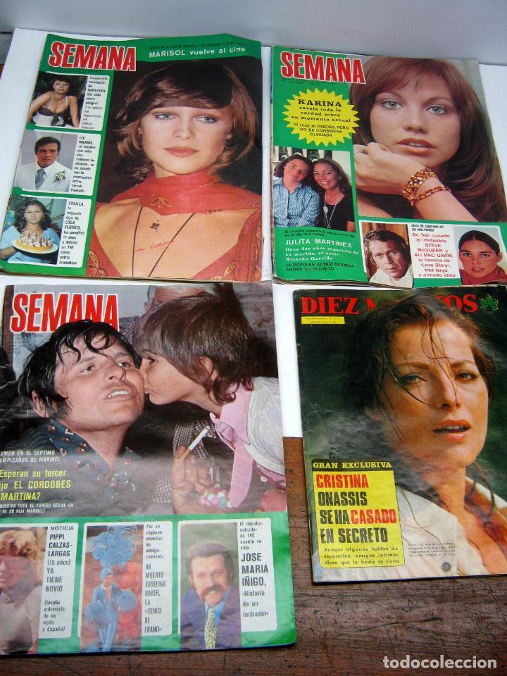 LOTE DIEZ MINUTOS + 3 SEMANAS AÑO 1973 1975 (Coleccionismo - Revistas y Periódicos Modernos (a partir de 1.940) - Revista Diez Minutos)