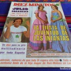 Coleccionismo de Revista Diez Minutos: DIEZ MINUTOS Nº 1674 PÓSTER JULIO IGLESIAS. 24-9-1983 INFANTA ELENA Y CRISTINA, LADY DI. BE. RARA. . Lote 103397271