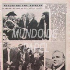 Coleccionismo de Revista Diez Minutos: RECORTE DIEZ MINUTOS 1222 1975 MARLON BRANDO, MECENAS. Lote 117602351