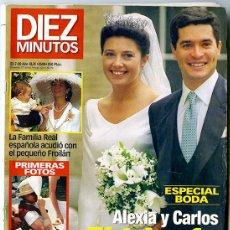 Coleccionismo de Revista Diez Minutos: DIEZ MINUTOS. 23-JULIO-1999. AÑO XLIX. 2500, 114 PP. ESP. BODA: ALEXIA Y CARLOS EL TRIUNFO DEL AMOR. Lote 133555774