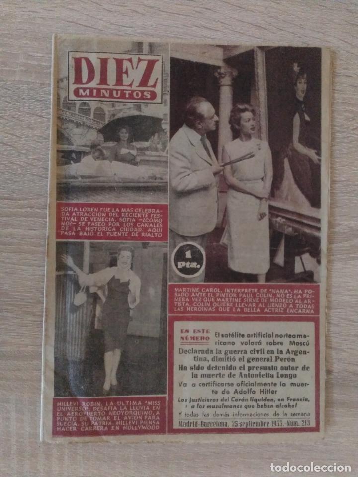 DIEZ MINUTOS Nº 213 ** SEPTIEMBRE 1955 ** SOFIA LOREN * MARTIN CAROL.... (Coleccionismo - Revistas y Periódicos Modernos (a partir de 1.940) - Revista Diez Minutos)