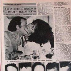 Coleccionismo de Revista Diez Minutos: RECORTE DIEZ MINUTOS DIVORCIO DE LIZ TAYLOR Y RICHARD BURTON. 3 PGS.. Lote 139380730