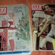 Coleccionismo de Revista Diez Minutos: 2 ANTIGUA REVISTA DIEZ MINUTOS LAS NOTICIAS DE LA SEMANA AÑO 1964-65.ROTURA.. Lote 140048998
