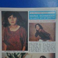 Coleccionismo de Revista Diez Minutos: RECORTE REPORTAJE DE CLIPPING DE MARIA SCHNEIDER REVISTA DIEZ MINUTOS Nº 1379 PAG 43-44. Lote 143276406