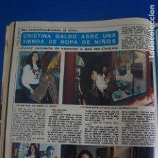 Coleccionismo de Revista Diez Minutos: RECORTE REPORTAJE CLIPPING DE CRISTINA GALBO REVISTA DIEZ MINUTOS Nº 1582 PAG 56. Lote 144738310