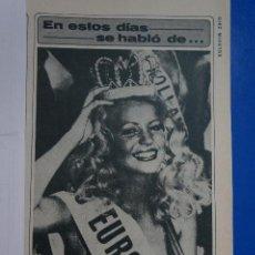 Coleccionismo de Revista Diez Minutos: RECORTE REPORTAJE CLIPPING ANNA METTE LARSEN MISS EUROPA 1981 REVISTA DIEZ MINUTOS Nº 1557 PÁG 19. Lote 147932022