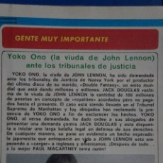 Coleccionismo de Revista Diez Minutos: RECORTE REPORTAJE CLIPPING DE YOKO ONO JOHN LENNON REVISTA DIEZ MINUTOS Nº 1557 PÁG 60. Lote 147932666