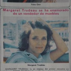 Coleccionismo de Revista Diez Minutos: RECORTE REPORTAJE CLIPPING DE MARGARET TRUDEAU REVISTA DIEZ MINUTOS Nº 1557 PÁG 60. Lote 147932738