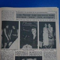 Coleccionismo de Revista Diez Minutos: RECORTE REPORTAJE CLIPPING LOLA FLORES AMPARO LARRAÑAGA JUNIOR REVISTA DIEZ MINUTOS Nº 1557 PÁG 71. Lote 147933022