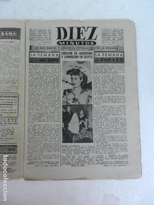 Coleccionismo de Revista Diez Minutos: REVISTA DIEZ MINUTO Nº 49 AGOSTO 1952. EN ESTE NÚMERO: MUERTE DE EVA PERÓN, FARUK I ABANDONA EGIPTO. - Foto 2 - 172317400