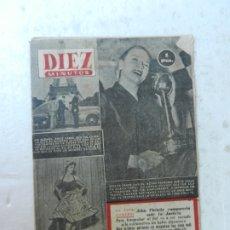 Coleccionismo de Revista Diez Minutos: REVISTA DIEZ MINUTOS Nº 96 JUNIO 1953. EN ESTE NÚMERO: MODISTOS PARISINOS, DENISE DARCEL..... Lote 172363559